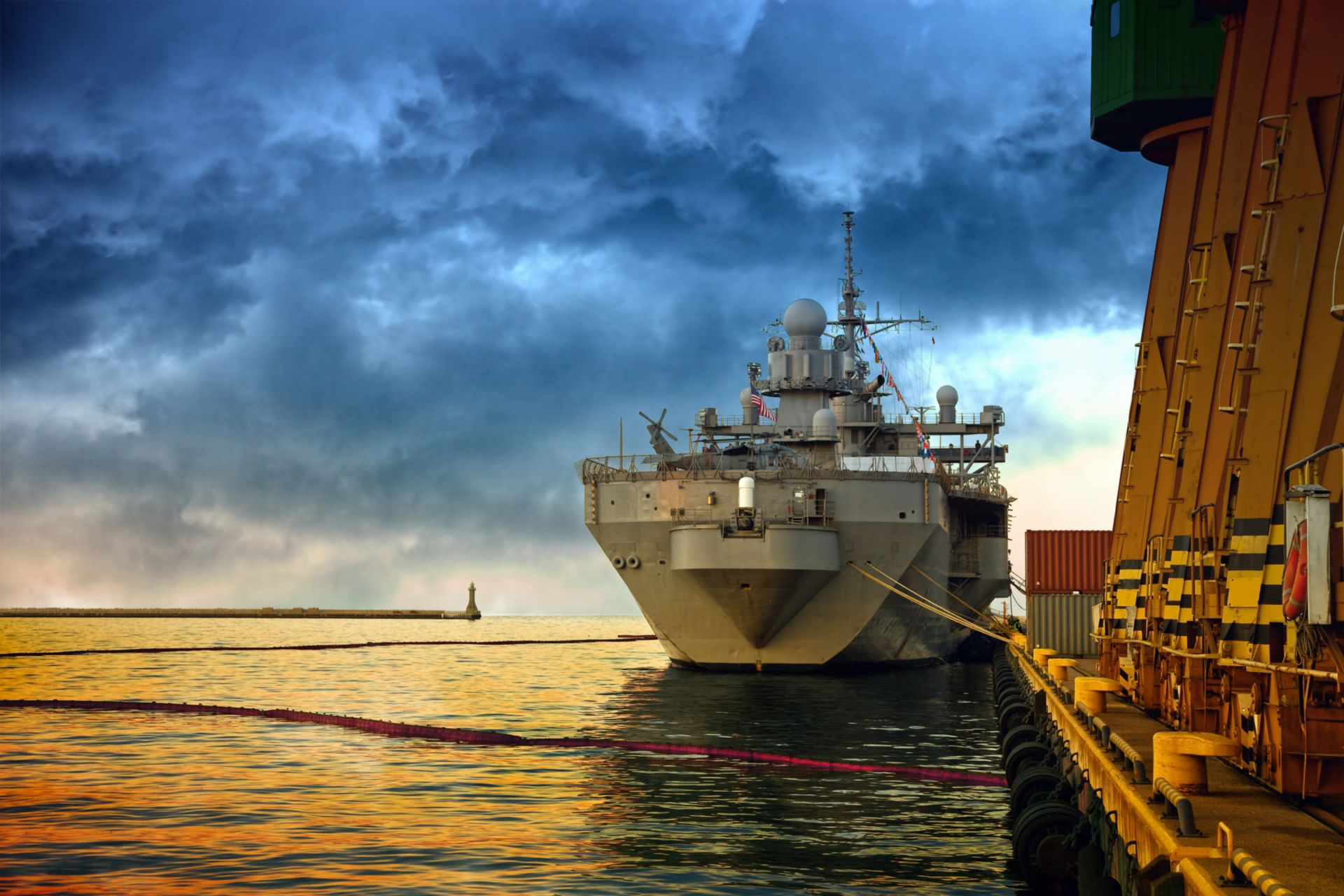 Moored Warship